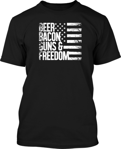 Beer Bacon Guns & Freedom  - Mens Patriotic Shirts