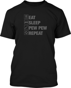 Eat Sleep Pew Pew Repeat  - Mens Patriotic Shirts