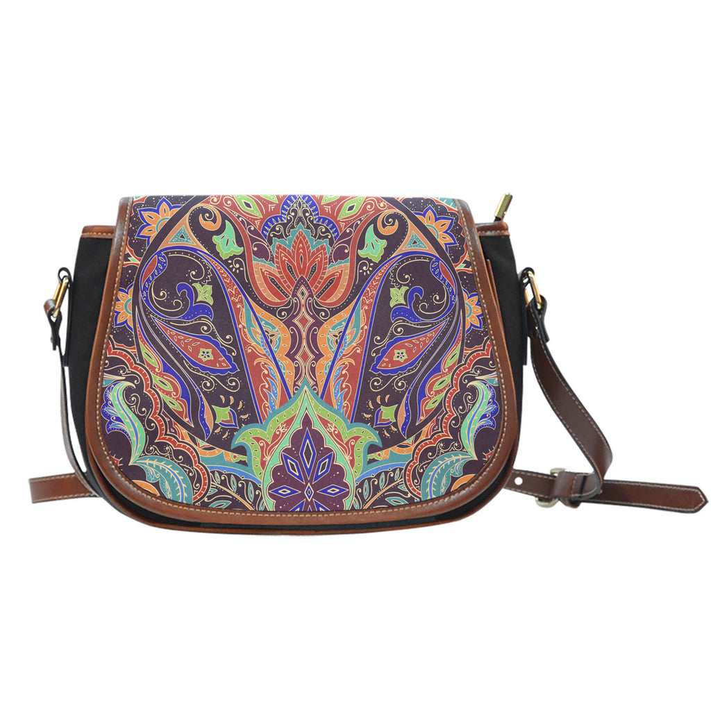 Paisley Pattern Canvas/Leather Saddle Bag