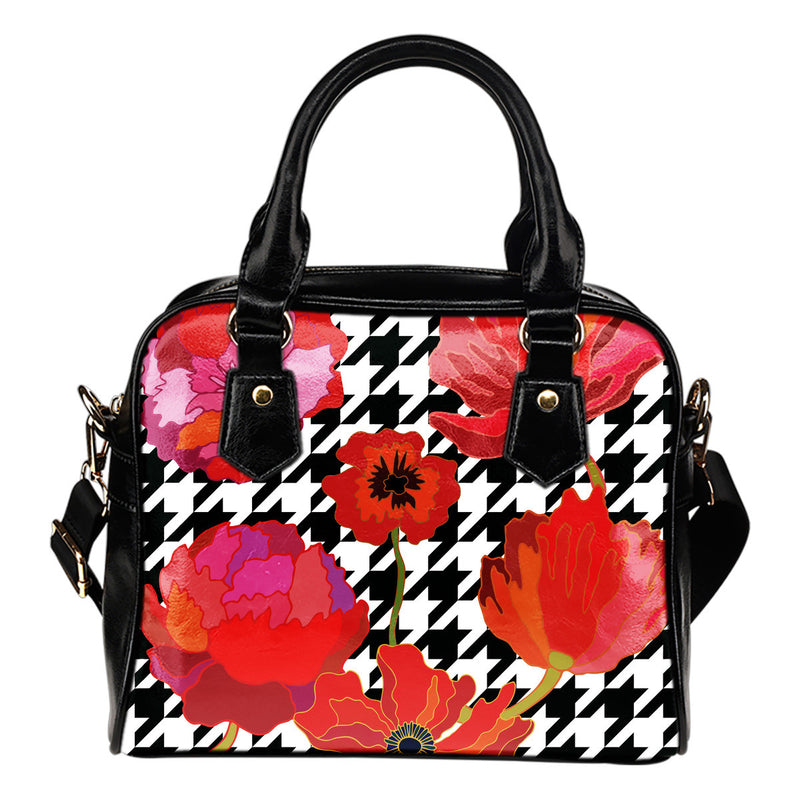 Hounds Tooth and Roses Shoulder Handbag