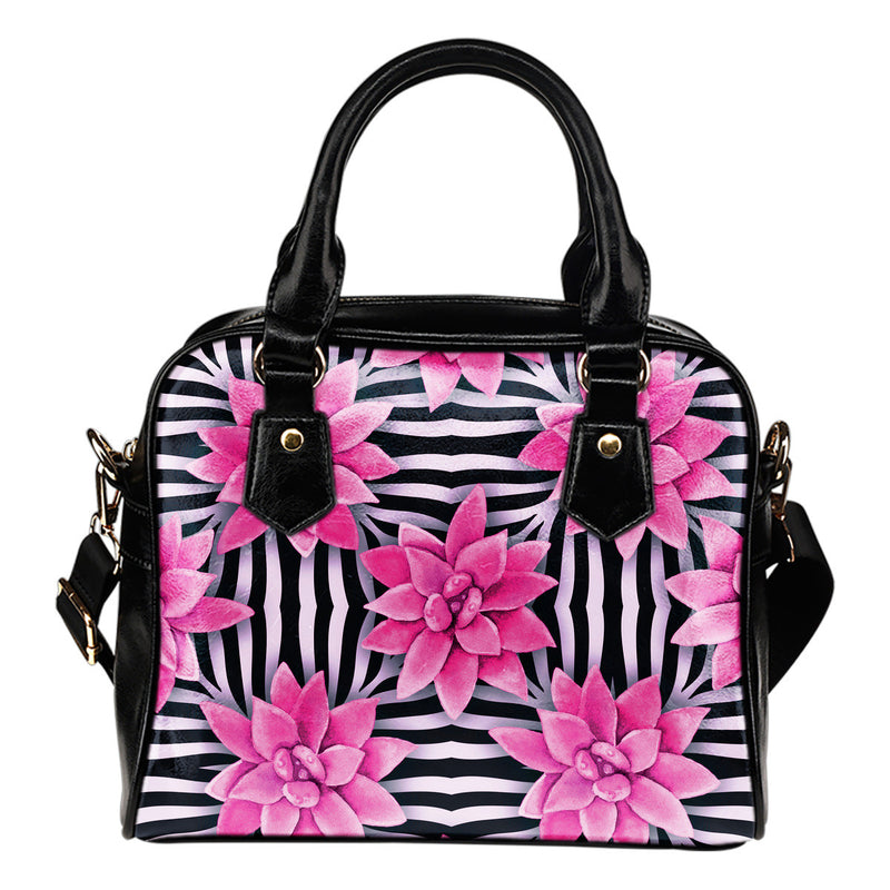Black Pink Zebra Print Shoulder Handbag