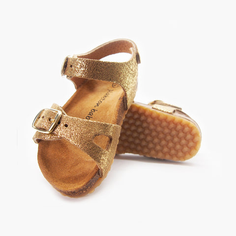 Comfort Cork Sandal for Babies: Andros Gold Brushed-Metal
