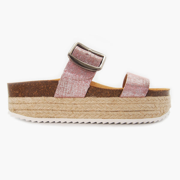 Trendy Comfort Sandal for Women: Corfu Pink Brushed-Metal