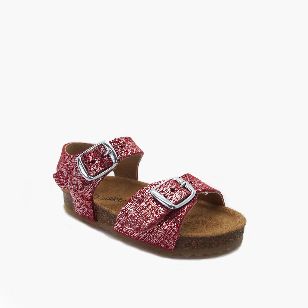 Comfort Cork Sandal for Babies: Andros Red Brushed-Metal