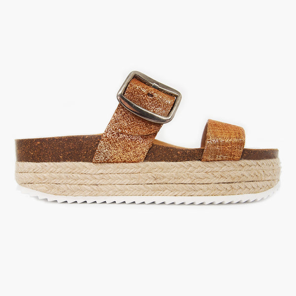 Trendy Comfort Sandal for Women: Corfu Ochre Brushed-Metal