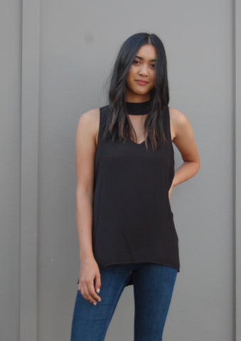 Sleeveless Cutout V Neck - Eclectic Blue
