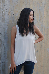 V Neck Layered Tank - Eclectic Blue