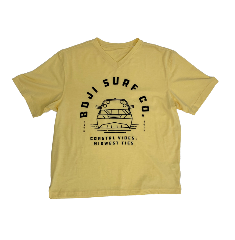 MENS DISTRESSED RETRO LOGO V-NECK TEE - BOJI SURF CO.™️