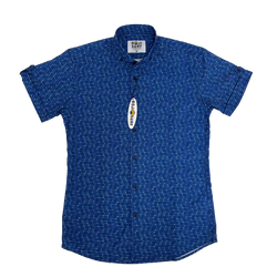 FISH BONES BUTTON DOWN (NAVY)
