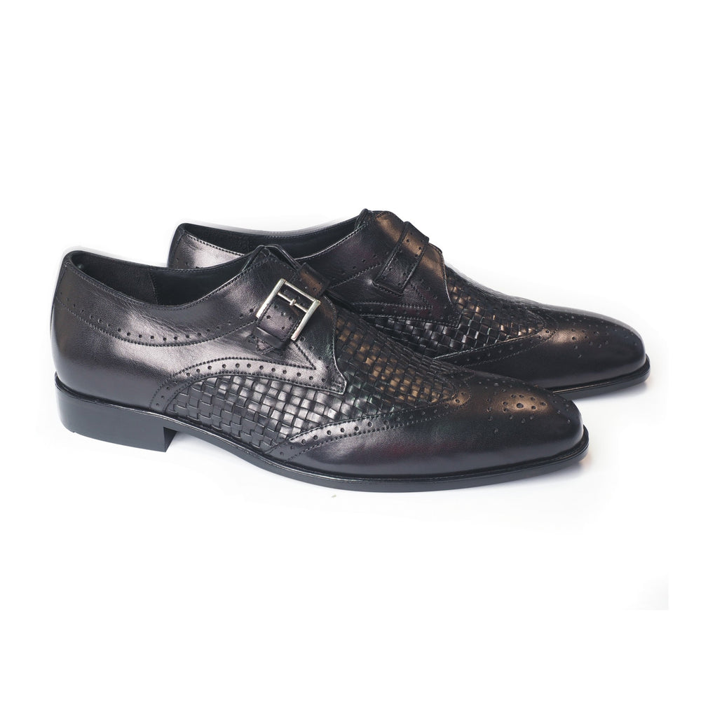 Greer Anderad Men's Leather Monk Strap Handwoven Shoes Black GA-03-03 - Greer & Anderad