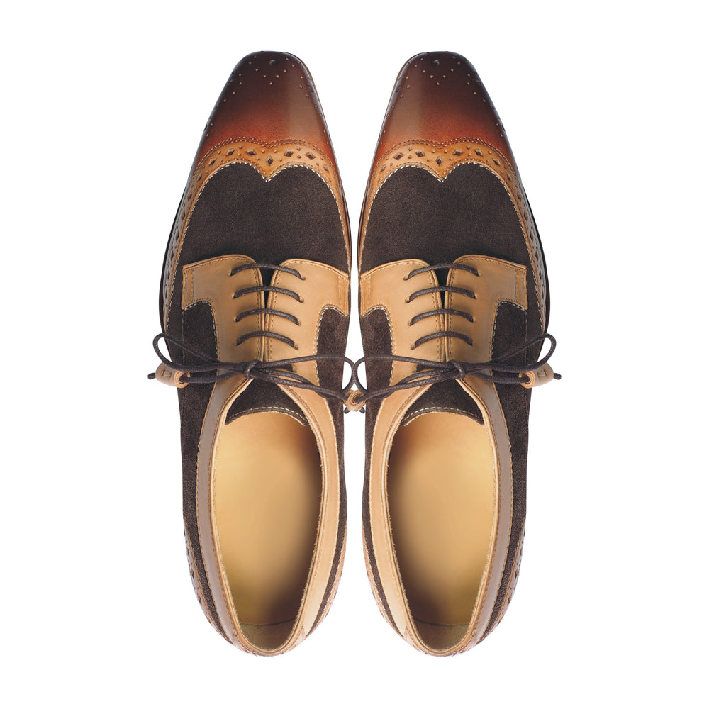 Greer Anderad Men's Leather Suede Lace-up Derby Shoes Tan Brown GA-02-19 - Greer & Anderad