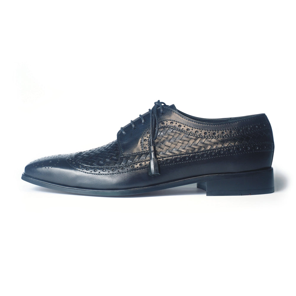Greer Anderad Men's Leather Derby Handwoven Lace-up Shoes Black GA-02-20 - Greer & Anderad