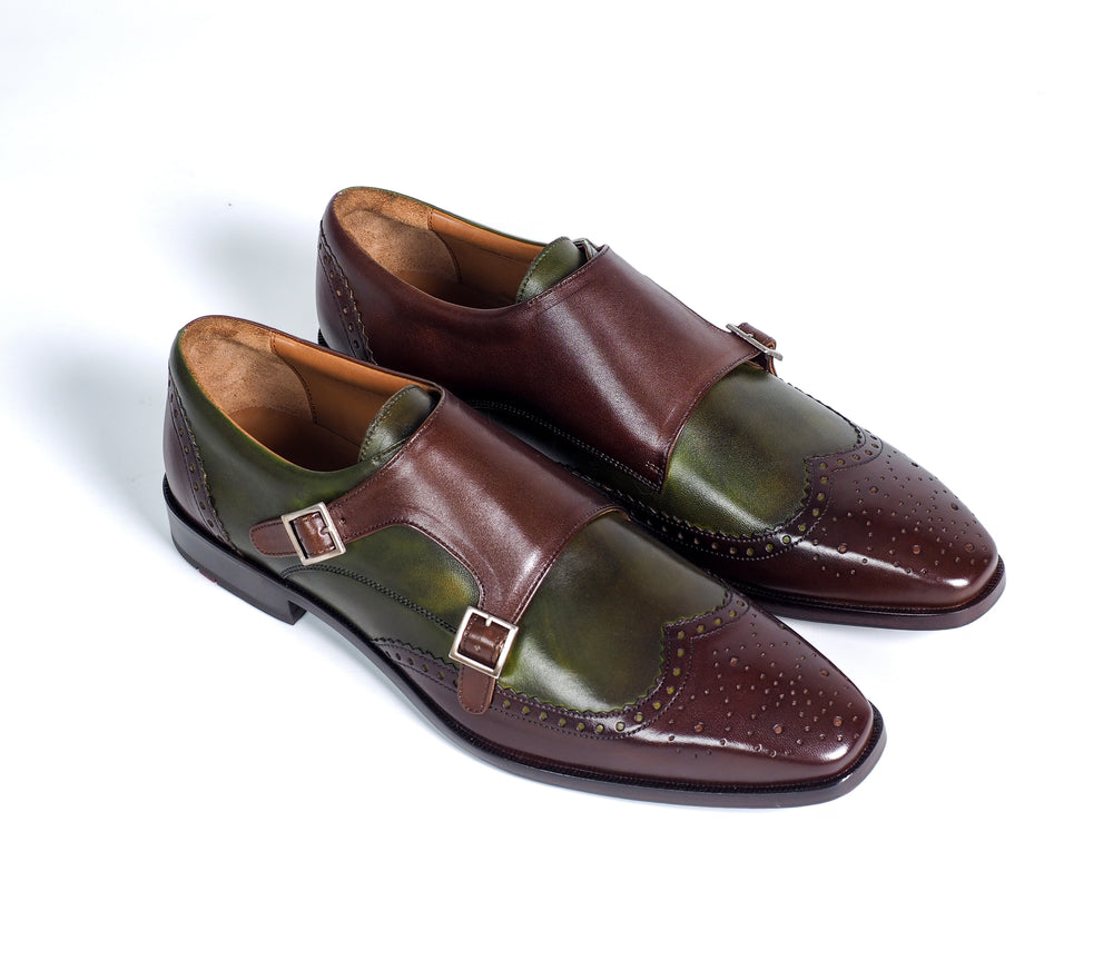 Greer Anderad Men's Leather Double Monk Strap Shoes Brown Green GA-02-39 - Greer & Anderad