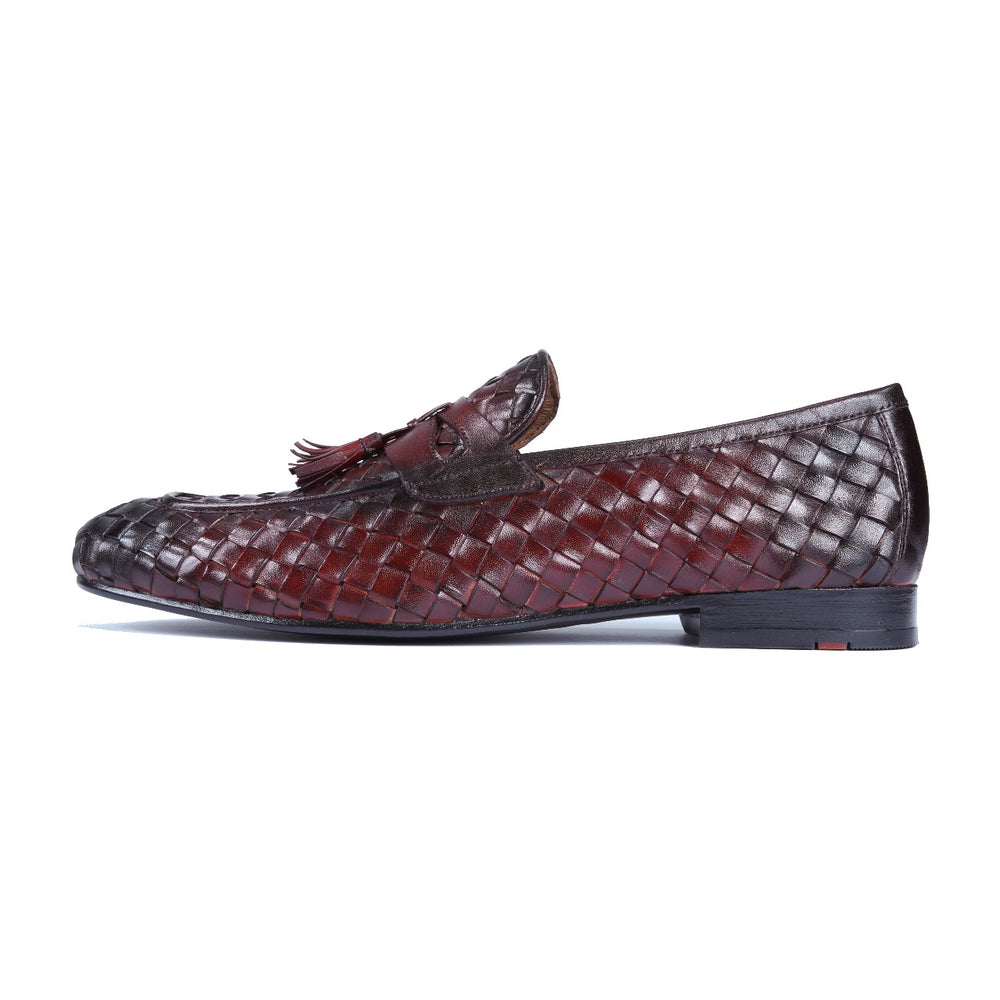 Greer Anderad Men's Leather Loafer Handwoven Shoes Burgundy GA-10-03 - Greer & Anderad