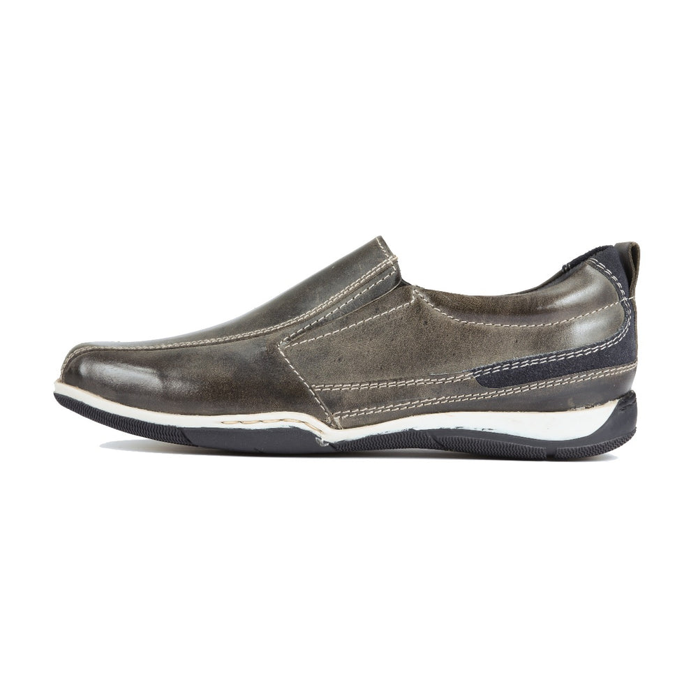 Greer Anderad Men's Leather Casual / Comfort Slip-on Shoes Dark Grey GA-06-06 - Greer & Anderad