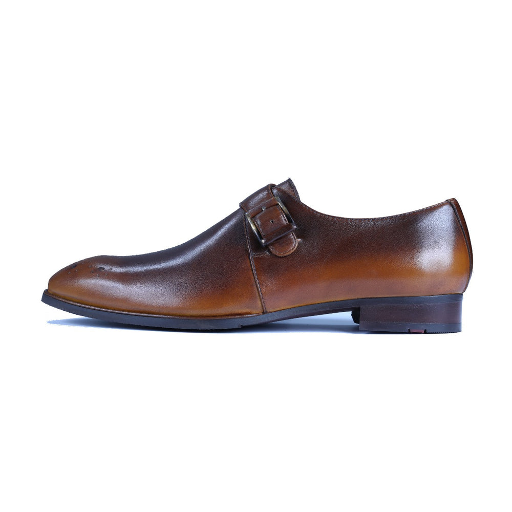 Greer Anderad Men's Leather Single Monk-Strap Shoes Tan Brown GA-04-06 - Greer & Anderad