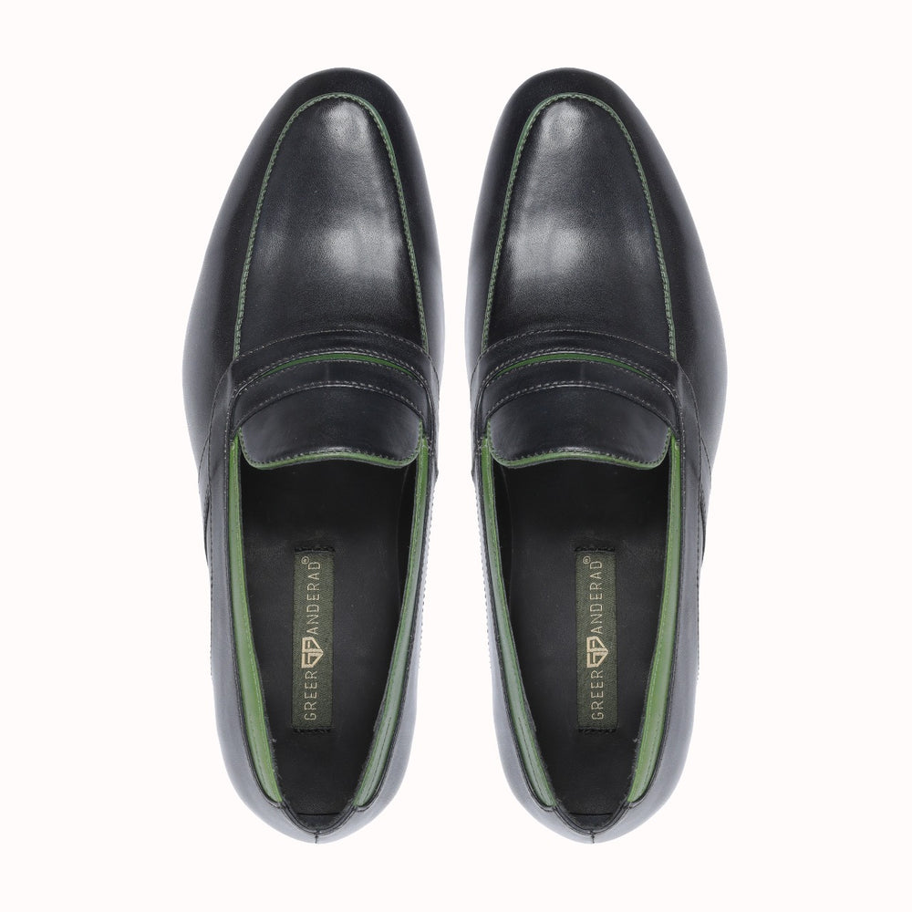 Greer Anderad Men's Leather Loafer Shoes Black Green GA-10-02 - Greer & Anderad
