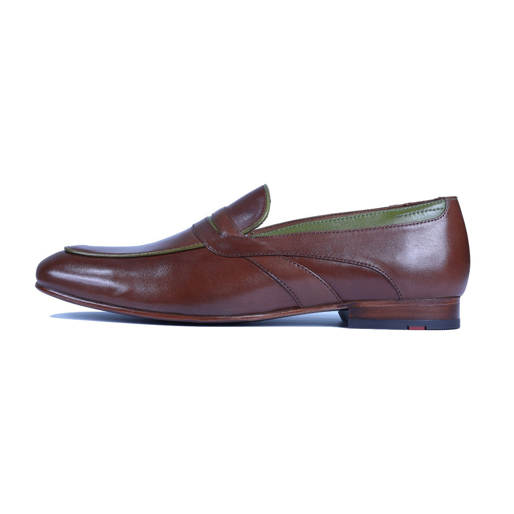Greer Anderad Men's Leather Loafer Shoes Brown Green GA-10-02 - Greer & Anderad