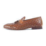 Greer Anderad Men's Leather Handwoven Loafer Shoes Tan Brown GA-10-04 - Greer & Anderad