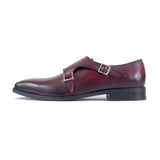 Greer Anderad Men's Leather Double MonkStrap Shoes Burgundy GA-02-35 - Greer & Anderad