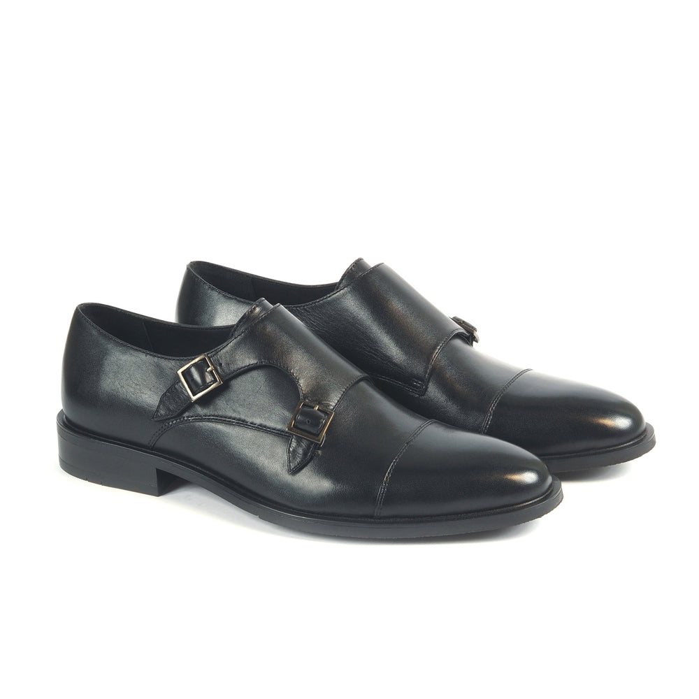 Greer Anderad Men's Leather Double Monk Strap Shoes Black GA-03-12 - Greer & Anderad