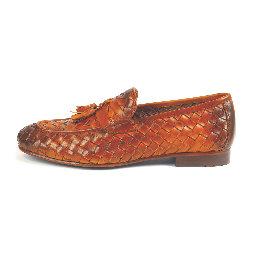 Greer Anderad Men's Leather Handwoven Loafer Shoes Tan GA-10-03 - Greer & Anderad
