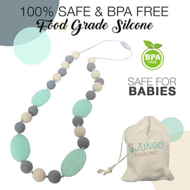 JUNGO BAMBINO Silicon Teething Necklace - Blueberry and Mint
