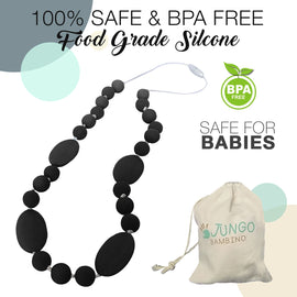 JUNGO BAMBINO Silicon Teething Necklace - All Black Liquorice