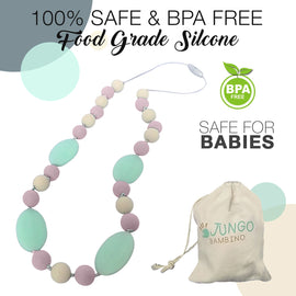 JUNGO BAMBINO Silicon Teething Necklace - Pink Marshmellow
