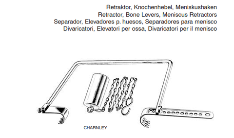 CHARNLEY Retractor, complete blade, 2.5x3.2cm / 2.5x3.8xm weight on chain