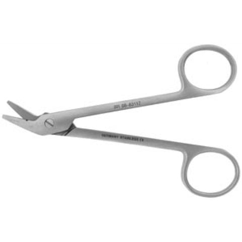 Wire Cutting Scissor, side angled, one serrated blade, 4¾""