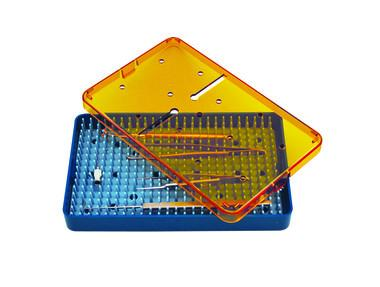 Instrument Sterilization Tray, with Silicone Mat, Amber Lid