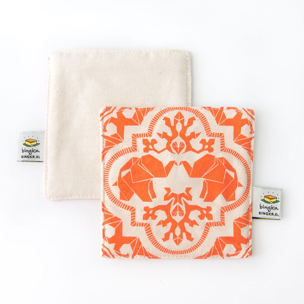 Set of 4 Tangerine Mahagajah Coasters