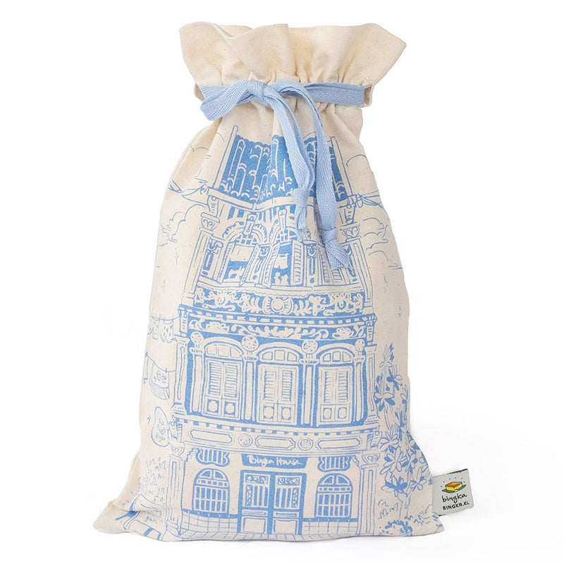 Blue Colonial House Drawstring Gift Bag