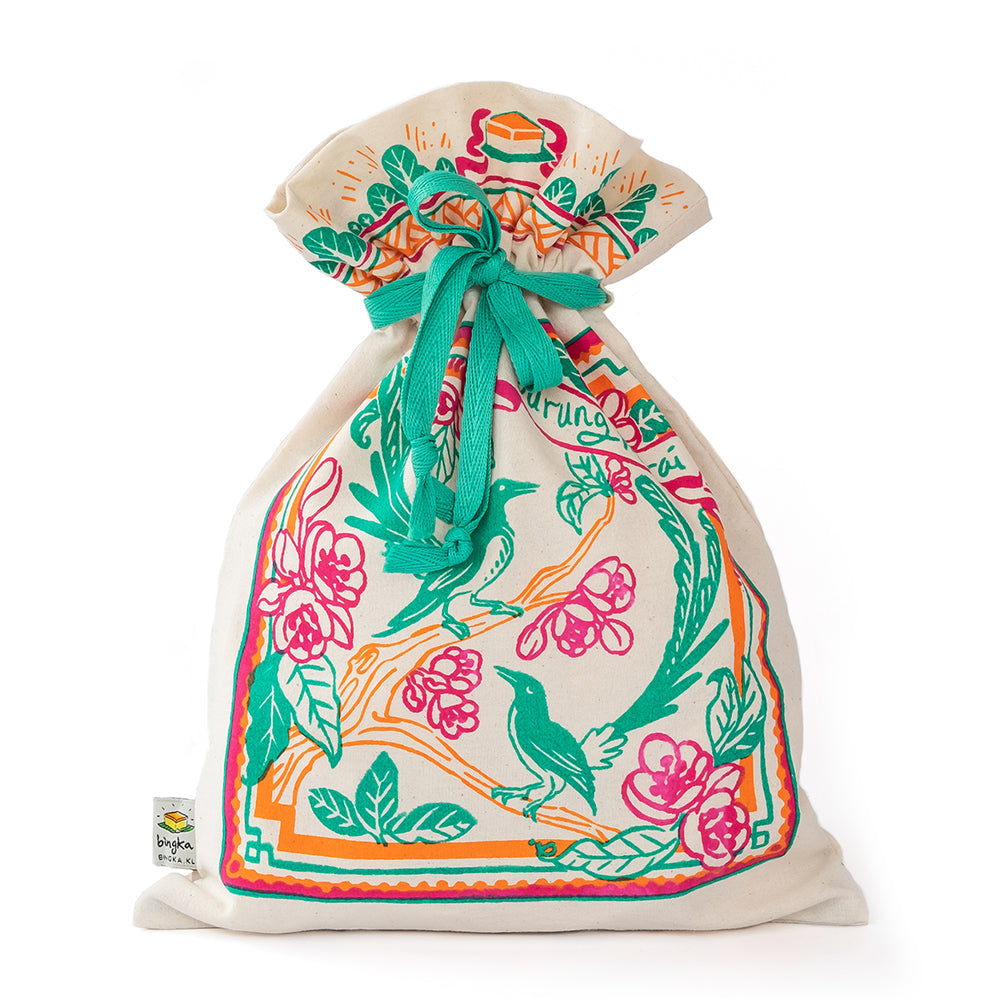 Peranakan Tile Burung Murai Drawstring Gift Bag (Big)