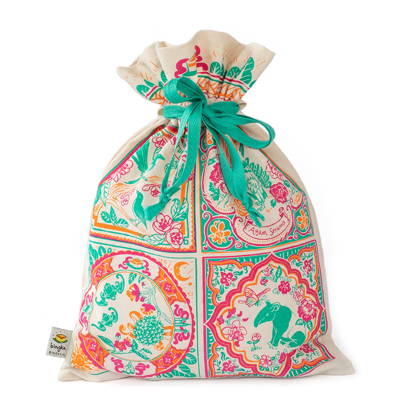 Peranakan Tile Multiple Animals Drawstring Gift Bag (Big)