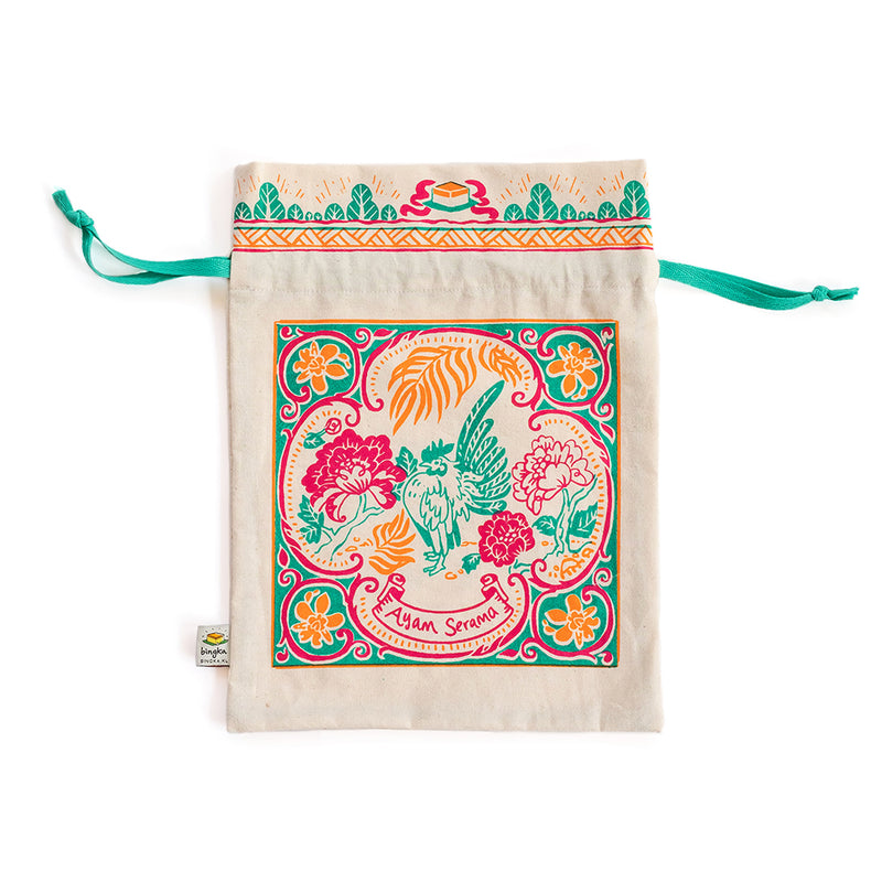 Peranakan Tile Ayam Serama Drawstring Gift Bag (Big)