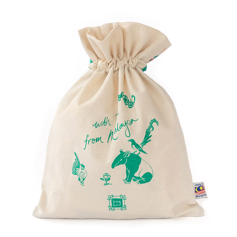 Peranakan Tile Bat Drawstring Gift Bag (Big)