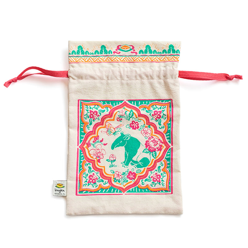 Peranakan Tile Tapir Drawstring Gift Bag (Small)