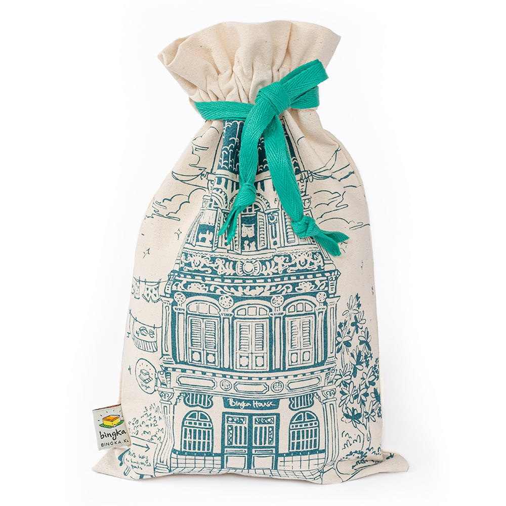 Teal Colonial House Drawstring Gift Bag