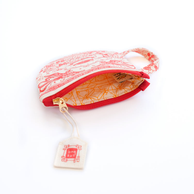 Red Tea Cup Coin Pouch
