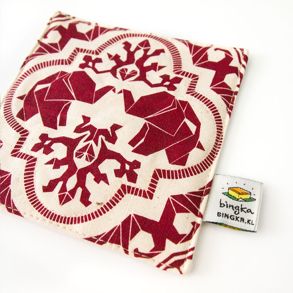 Set of 4 Maroon Mahagajah Coasters