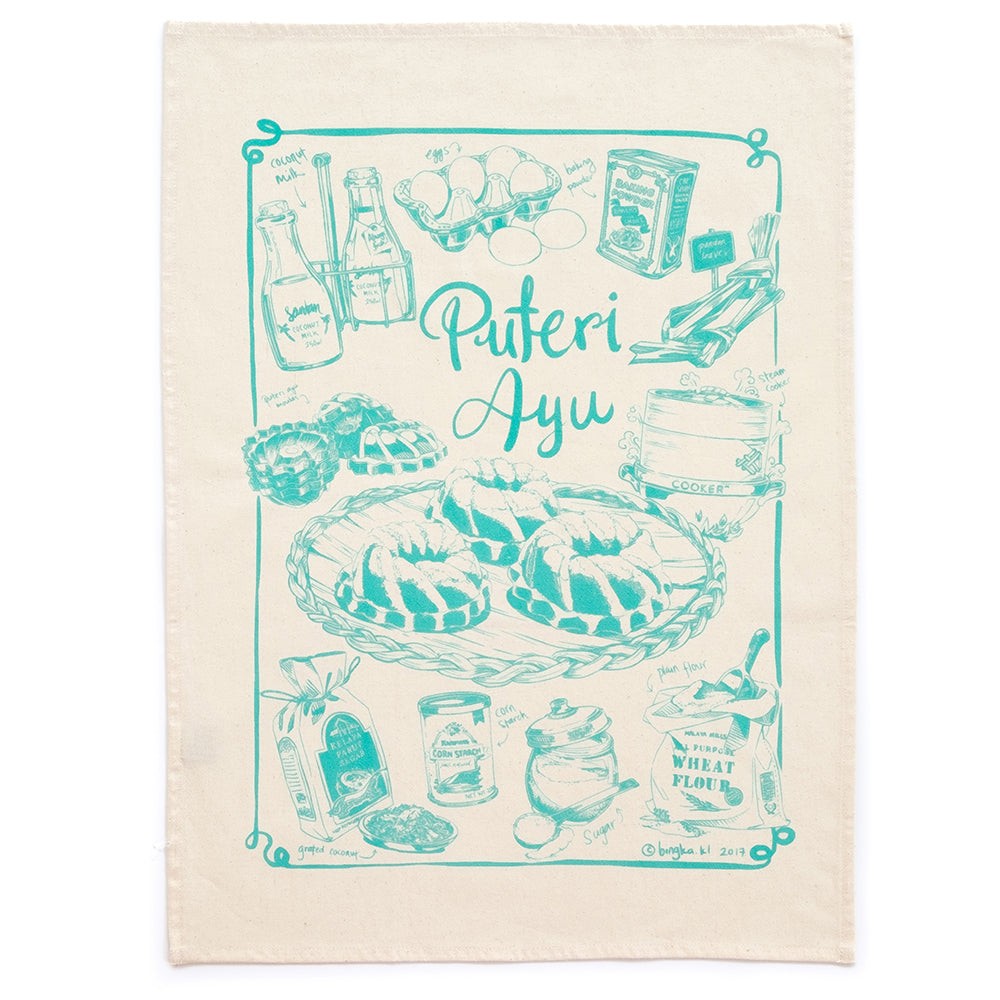 Kuih Puteri Ayu Tea Towel (LightTeal)