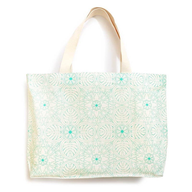 A big canvas tote for grocery shopping, trips to the laundromat, bulky art supplies, with all the space you need! With our tropical leaf print, designed and handmade in Malaysia by Bingka.KL