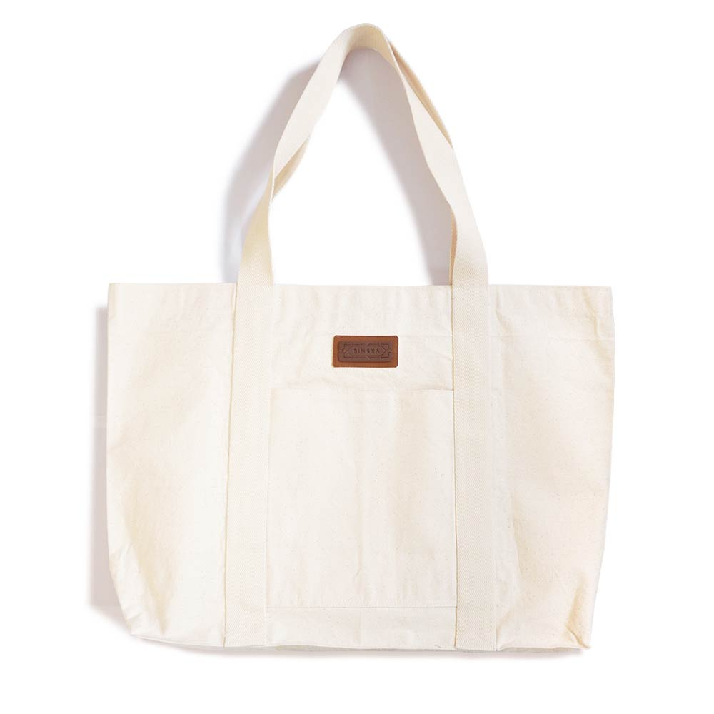 A big canvas tote for grocery shopping, trips to the laundromat, bulky art supplies, with all the space you need! Designed and handmade in Malaysia by Bingka.KL