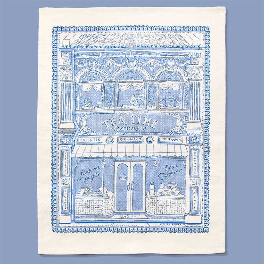 Bingka Tea House Tea Towel in Baby Blue