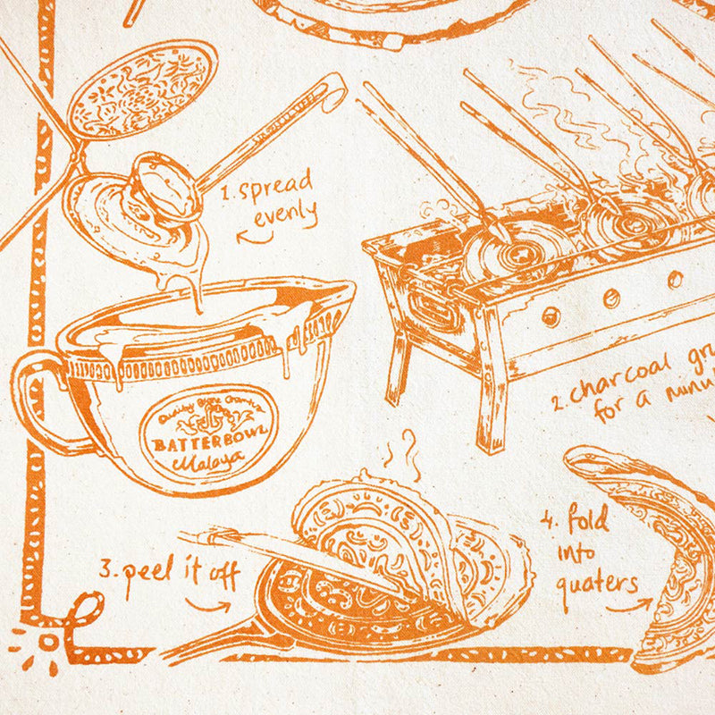 Liven up your kitchen with our beautiful handmade tea towels, handprinted in our illustrated Kuih Kapit design.