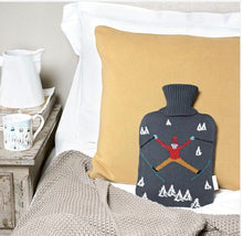 Skiing Knitted Hot Water Bottle