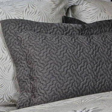 Allegro coverlet sham shown in caviar.