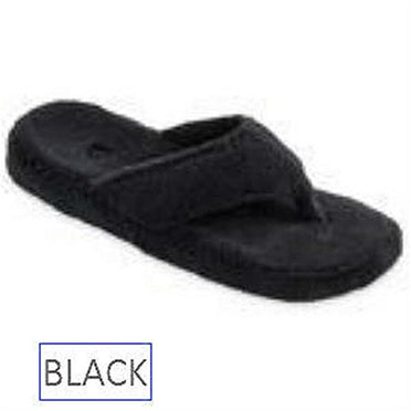 Acorn Spa thong slipper in black.